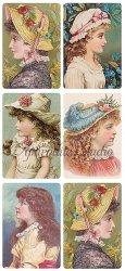 横顔の帽子の少女のステッカー エンジェル 1シート ヴィクトリアン シール ラベル ビクトリアン Victorian ラッピング