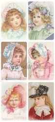 花のついた帽子の少女のステッカー エンジェル 1シート ヴィクトリアン シール ラベル ビクトリアン Victorian ラッピング