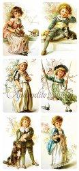 貴族の少年少女のステッカー エンジェル 1シート ヴィクトリアン シール ラベル ビクトリアン Victorian ラッピング