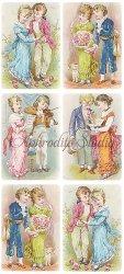 仲良しの少年少女のステッカー エンジェル 1シート ヴィクトリアン シール ラベル ビクトリアン Victorian ラッピング