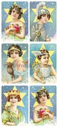星と女優のステッカー エンジェル 1シート ヴィクトリアン シール ラベル ビクトリアン Victorian ラッピング