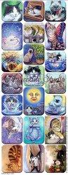 アーティストシリーズ 猫のステッカー Lynn Risor 1シート ヴィクトリアン シール ラベル ビクトリアン Victorian ラッピング