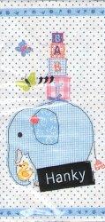 赤ちゃん象 ブルー 21.5cm角/ポケットペーパーハンカチ・紙ハンカチ/ミニペーパーナプキン