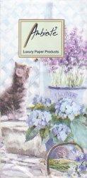パープルフラワーと猫  21.5cm角/ポケットペーパーハンカチ・紙ハンカチ/ミニペーパーナプキン