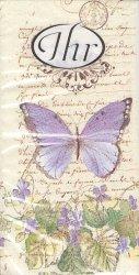 菫と紫色の蝶 21.5cm角/ポケットペーパーハンカチ・紙ハンカチ/ミニペーパーナプキン