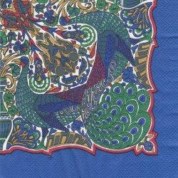 廃盤 貴重品 レア柄 英国リバティxhunkydory 孔雀のスカーフ柄 1枚 バラ売り 35cm ペーパーナプキン デコパージュ 紙ナプキン LIBERTY OF LONDON