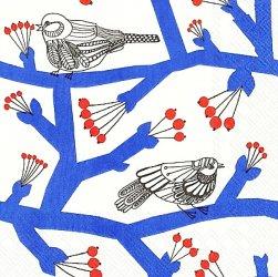 北欧 25cm マリメッコ PAKKANEN パッカネン 小鳥と青い小枝 1枚 バラ売り ペーパーナプキン marimekko