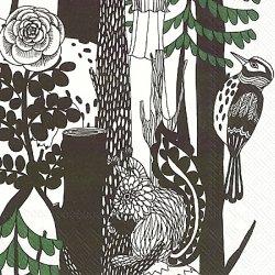 25cm マリメッコ VELJEKSET ヴェルイェクセトゥ 森の中の動物たち marimekko 1枚 ペーパーナプキン 紙ナプキン バラ売り デコパージュ用