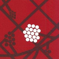 25cm マリメッコ HORTENSIE レッド ホルテンシエ 1枚 バラ売り ペーパーナプキン 紙ナプキン デコパージュ用 marimekko