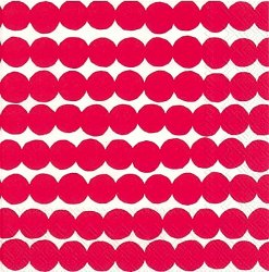 25cm 北欧 マリメッコ RASYMATTO 赤 ぼろぼろラグ 1枚 バラ売り ペーパーナプキン marimekko