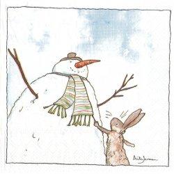25cm 1パック20枚 未開封 アニタ・ジェラーム HELLO! SNOWMAN ハロー!スノーマン! Anita Jeram デコパージュ ペーパーナプキン