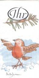 1パック10枚入 アニタジェラーム ウィンターゲーム 小鳥 21.5cm角 Anita Jeram ポケットペーパーハンカチ 紙ハンカチ ミニペーパーナプキン