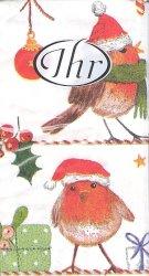 1パック10枚 MERRY LITTLE X-MAS メリーリトルクリスマスバード 小鳥 21.5cm角 ペーパーハンカチ 紙ハンカチ Ihr