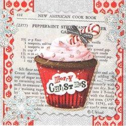 25cm 廃番 CHRISTMAS CUPCAKES クリスマス・カップケーキ 1枚 バラ売り ペーパーナプキン デコパージュ 紙ナプキン Ihr