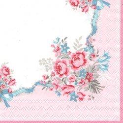 北欧 25cm 廃盤 グリーンゲート Betsy ピンク ベッツィー コーナー薔薇 1枚 バラ売り ペーパーナプキン デコパージュ GREEN GATE