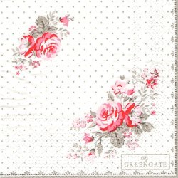 北欧 25cm 廃盤 グリーンゲート Vilma Vintage ピンクドット 薔薇 1枚 バラ売り ペーパーナプキン デコパージュ GREEN GATE