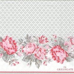 北欧 25cm 廃盤 グリーンゲート Shirley ピンクxグレー 薔薇 1枚 バラ売り ペーパーナプキン デコパージュ GREEN GATE