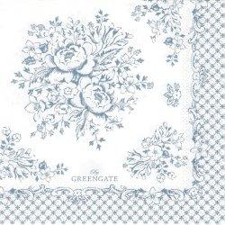 北欧 25cm 廃盤 グリーンゲート Stephanie ダスティブルー 薔薇 1枚 バラ売り ペーパーナプキン デコパージュ GREEN GATE