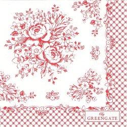 北欧 25cm 廃盤 グリーンゲート Stephanie レッド 薔薇 1枚 バラ売り ペーパーナプキン デコパージュ GREEN GATE