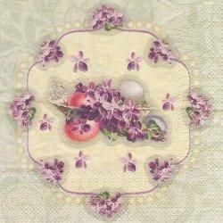 25cm ペーパーナプキン すみれ ヴィンテージ・イースター 菫 1枚 デコパージュ用 ペーパーナプキン バラ売り 紙ナプキン