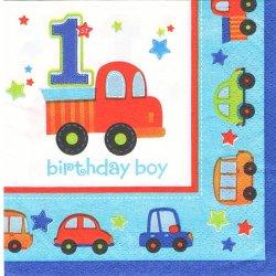 24.7cm ALL ABROAD BIRTHDAY 車 男の子 バースデー 1枚 ばら売り ペーパーナプキンボーイ デコパージュ用 紙ナプキン