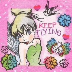 25cm ペーパーナプキン ティンカーベル KEEP FLYING  1枚 デコパージュ用 バラ売り 紙ナプキン キャラクター Disney