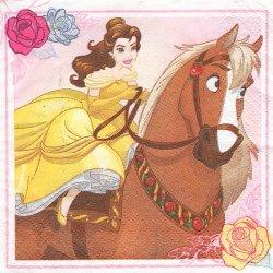 25cm ペーパーナプキン 美女と野獣 ベル 馬  1枚 デコパージュ用 バラ売り 紙ナプキン キャラクター Disney
