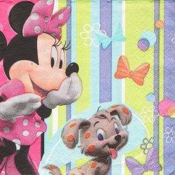 25cm ペーパーナプキン ミニーちゃん リボンドットストライプ  1枚 デコパージュ用 バラ売り 紙ナプキン キャラクター Disney