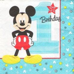 25cm ペーパーナプキン 4面柄 ミッキーマウス 1st バースデー  1枚 デコパージュ用 バラ売り 紙ナプキン キャラクター Disney