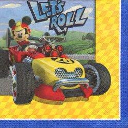 25cm ペーパーナプキン 2面柄 ミッキーマウス 車  1枚 デコパージュ用 バラ売り 紙ナプキン キャラクター Disney