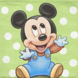 25cm ペーパーナプキン ベビーミッキーマウス  若草色 ドット 1枚 デコパージュ用 バラ売り 紙ナプキン キャラクター Disney