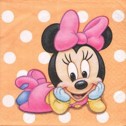 25cm ペーパーナプキン ベビーミニー  オレンジ ドット 1枚 デコパージュ用 バラ売り 紙ナプキン キャラクター Disney