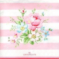 北欧 25cm 廃盤 グリーンゲート ローズ&ボーダー ピンク 薔薇 1枚 バラ売り ペーパーナプキン デコパージュ GREEN GATE