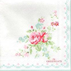 北欧 25cm 廃盤 グリーンゲート ローズ ホワイト 薔薇 1枚 バラ売り ペーパーナプキン デコパージュ GREEN GATE