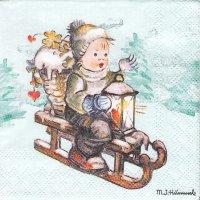 M. J. Hummel ペーパーナプキン ライド・イントゥ・クリスマス 1枚 33cm デコパージュ用 バラ売り 紙ナプキン Ambiente
