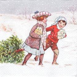 ペーパーナプキン クリスマスツリー・ピッキング 1枚 33cm デコパージュ用 バラ売り 紙ナプキン MOME FASHION