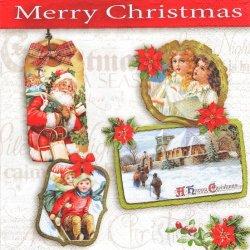 ペーパーナプキン クリスマス Best Wishes ヴィンテージラベル 1枚 33cm デコパージュ用 バラ売り 紙ナプキン nouveau