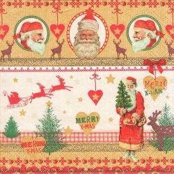 ペーパーナプキン クリスマス Pictures of SANTA ヴィンテージテイスト 1枚 33cm デコパージュ用 バラ売り 紙ナプキン home fashion