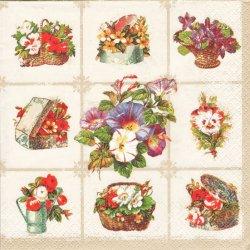 ペーパーナプキン アンティークな花の絵 ヴィンテージテイスト 1枚 33cm デコパージュ用 バラ売り 紙ナプキン daisy