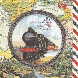 ペーパーナプキン 蒸気機関車 Travel Engine  ヴィンテージテイスト 1枚 33cm デコパージュ用 バラ売り 紙ナプキン ppd