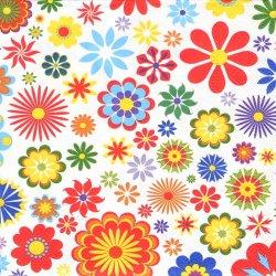 ペーパーナプキン フラワー・フェスティバル カラフルな花 1枚 33cm デコパージュ用 バラ売り 紙ナプキン Maki