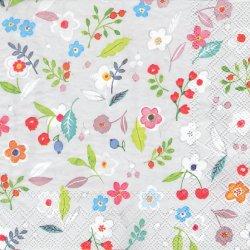 ペーパーナプキン 小花 グレー 33cm 1枚 デコパージュ用 バラ売り 紙ナプキン Ambiente