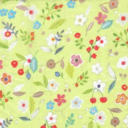 ペーパーナプキン 小花 黄緑 33cm 1枚 デコパージュ用 バラ売り 紙ナプキン Ambiente