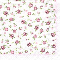 ペーパーナプキン フラワー 小さなお花とチェリー ピンク 1枚 33cm デコパージュ用 バラ売り 紙ナプキン home fashion