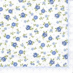 ペーパーナプキン フラワー 小さなお花とチェリー ブルー 1枚 33cm デコパージュ用 バラ売り 紙ナプキン home fashion