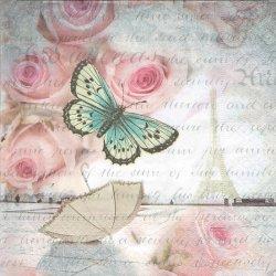 ペーパーナプキン パリのロマンス Romans in Paris 薔薇と傘と蝶 33cm 1枚 デコパージュ用 バラ売り 紙ナプキン paper+design
