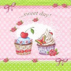 ペーパーナプキン ピンクのカップケーキ sweet day 33cm 1枚 デコパージュ用 バラ売り 紙ナプキン ti-flair
