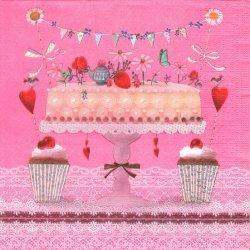 ペーパーナプキン ラブリー・ケーキ カップケーキとホールケーキ ピンク 1枚 33cm デコパージュ用 バラ売り 紙ナプキン ppd