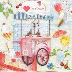 ペーパーナプキン I love icecream スイーツワゴン 33cm 1枚 デコパージュ用 バラ売り 紙ナプキン Ambiente