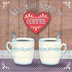 ペーパーナプキン All you need is COFFEE ふたつのコーヒーカップ 33cm 1枚 デコパージュ用 バラ売り 紙ナプキン Ambiente